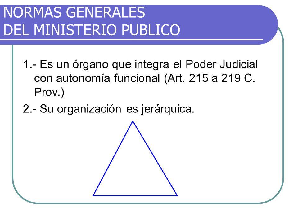 NORMAS GENERALES DEL MINISTERIO PUBLICO 1.- Es un órgano que integra el Poder Judicial con autonomía funcional (Art. 215 a 219 C. Prov.) 2.- Su organi