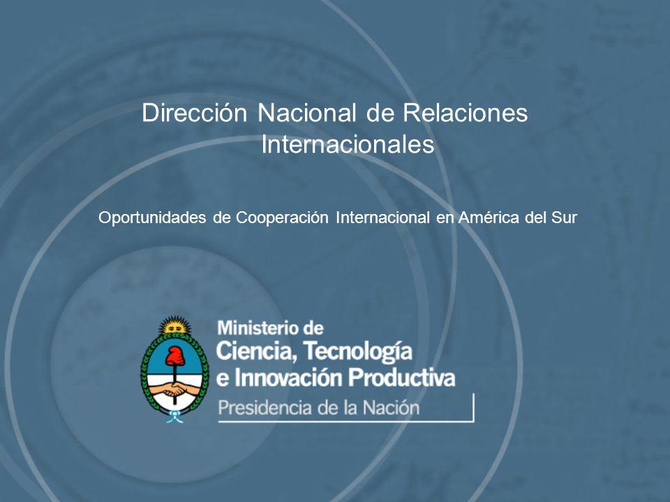 Dirección Nacional de Relaciones Internacionales Oportunidades de Cooperación Internacional en América del Sur