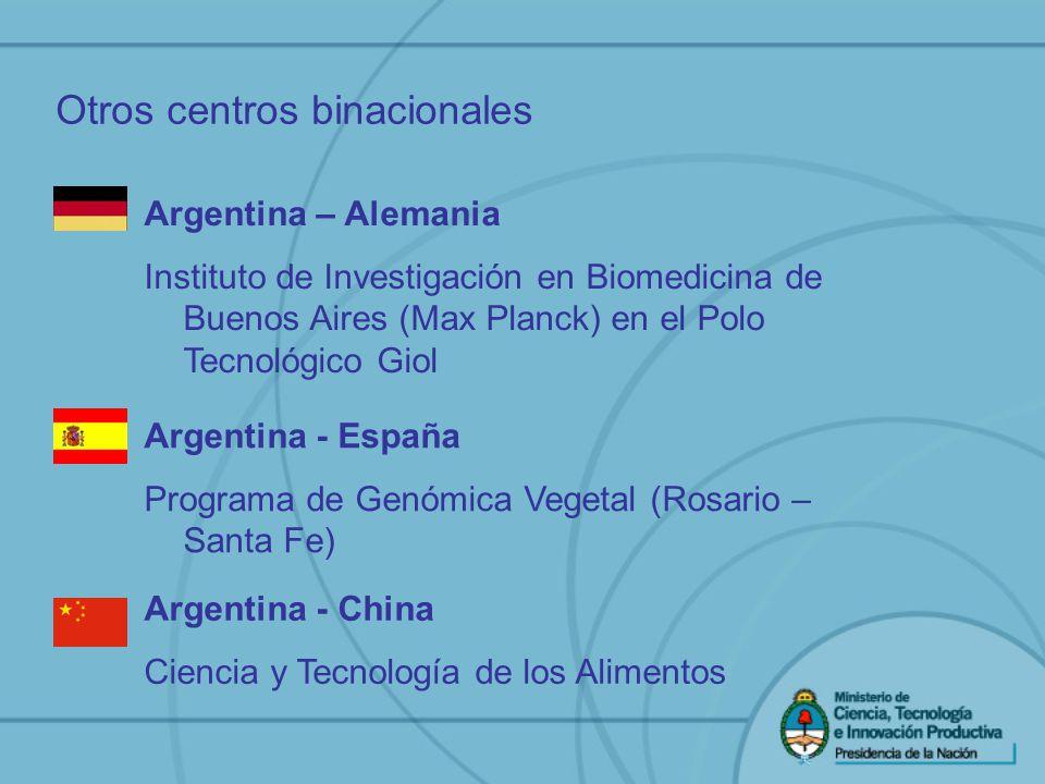 Otros centros binacionales Argentina – Alemania Instituto de Investigación en Biomedicina de Buenos Aires (Max Planck) en el Polo Tecnológico Giol Arg