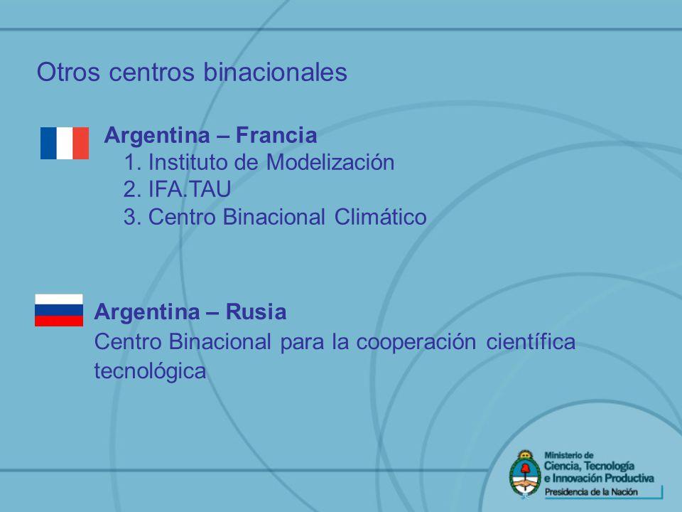 Otros centros binacionales Argentina – Rusia Centro Binacional para la cooperación científica tecnológica Argentina – Francia 1. Instituto de Modeliza