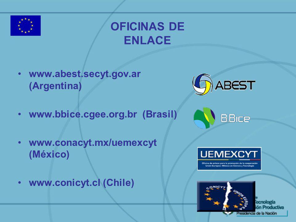 www.abest.secyt.gov.ar (Argentina) www.bbice.cgee.org.br (Brasil) www.conacyt.mx/uemexcyt (México) www.conicyt.cl (Chile) OFICINAS DE ENLACE