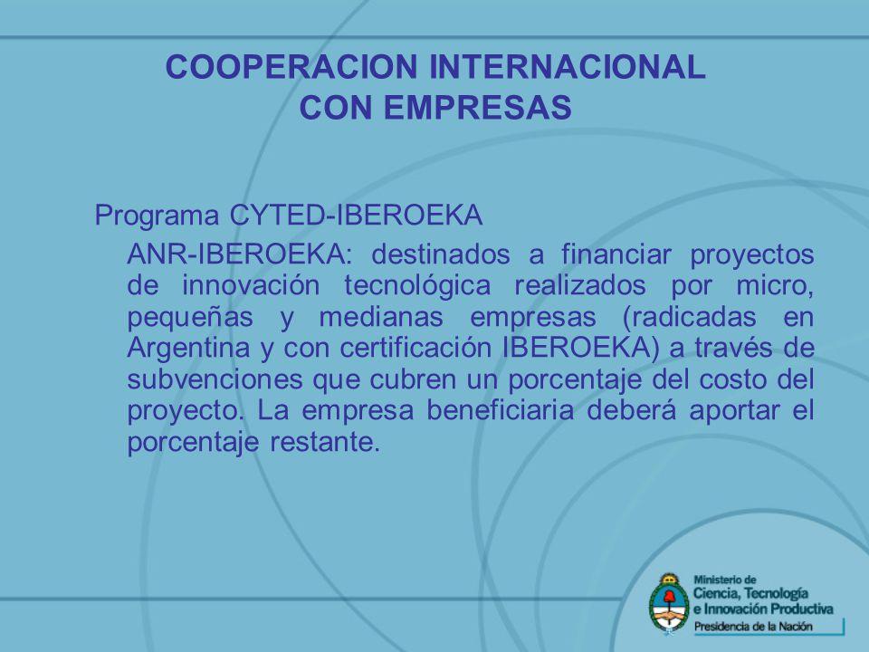 COOPERACION INTERNACIONAL CON EMPRESAS Programa CYTED-IBEROEKA ANR-IBEROEKA: destinados a financiar proyectos de innovación tecnológica realizados por