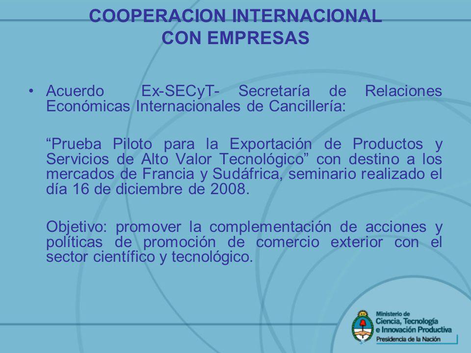 Acuerdo Ex-SECyT- Secretaría de Relaciones Económicas Internacionales de Cancillería: Prueba Piloto para la Exportación de Productos y Servicios de Al