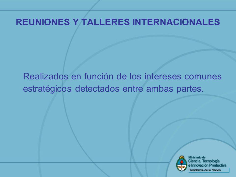 REUNIONES Y TALLERES INTERNACIONALES Realizados en función de los intereses comunes estratégicos detectados entre ambas partes.