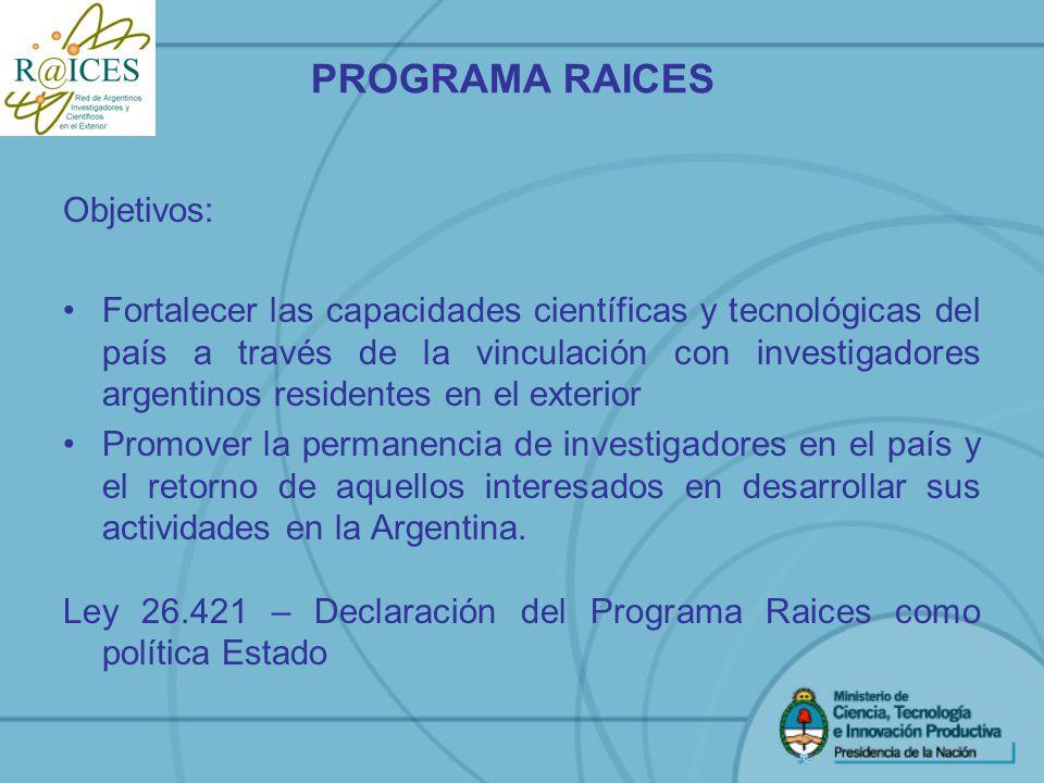 PROGRAMA RAICES Objetivos: Fortalecer las capacidades científicas y tecnológicas del país a través de la vinculación con investigadores argentinos res