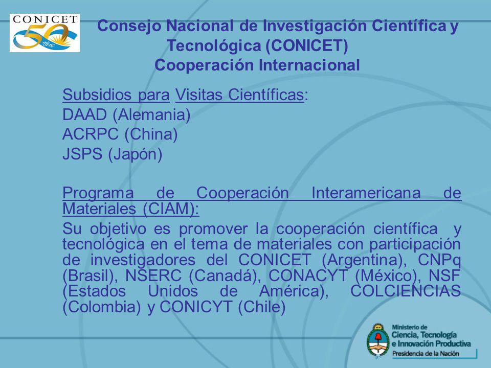 Subsidios para Visitas Científicas: DAAD (Alemania) ACRPC (China) JSPS (Japón) Programa de Cooperación Interamericana de Materiales (CIAM): Su objetiv