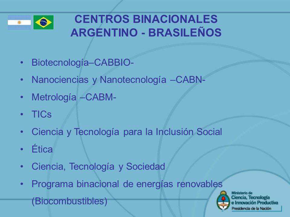 CENTROS BINACIONALES ARGENTINO - BRASILEÑOS Biotecnología–CABBIO- Nanociencias y Nanotecnología –CABN- Metrología –CABM- TICs Ciencia y Tecnología par