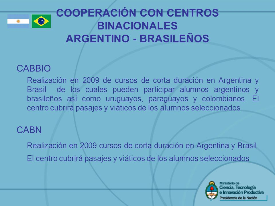 COOPERACIÓN CON CENTROS BINACIONALES ARGENTINO - BRASILEÑOS CABBIO Realización en 2009 de cursos de corta duración en Argentina y Brasil de los cuales