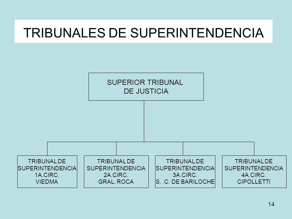 14 TRIBUNALES DE SUPERINTENDENCIA SUPERIOR TRIBUNAL DE JUSTICIA TRIBUNAL DE SUPERINTENDENCIA 1A.CIRC. VIEDMA TRIBUNAL DE SUPERINTENDENCIA 2A.CIRC. GRA