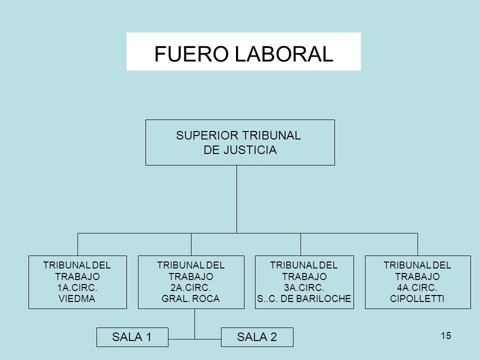 15 FUERO LABORAL SUPERIOR TRIBUNAL DE JUSTICIA TRIBUNAL DEL TRABAJO 1A.CIRC. VIEDMA TRIBUNAL DEL TRABAJO 2A.CIRC. GRAL. ROCA TRIBUNAL DEL TRABAJO 3A.C