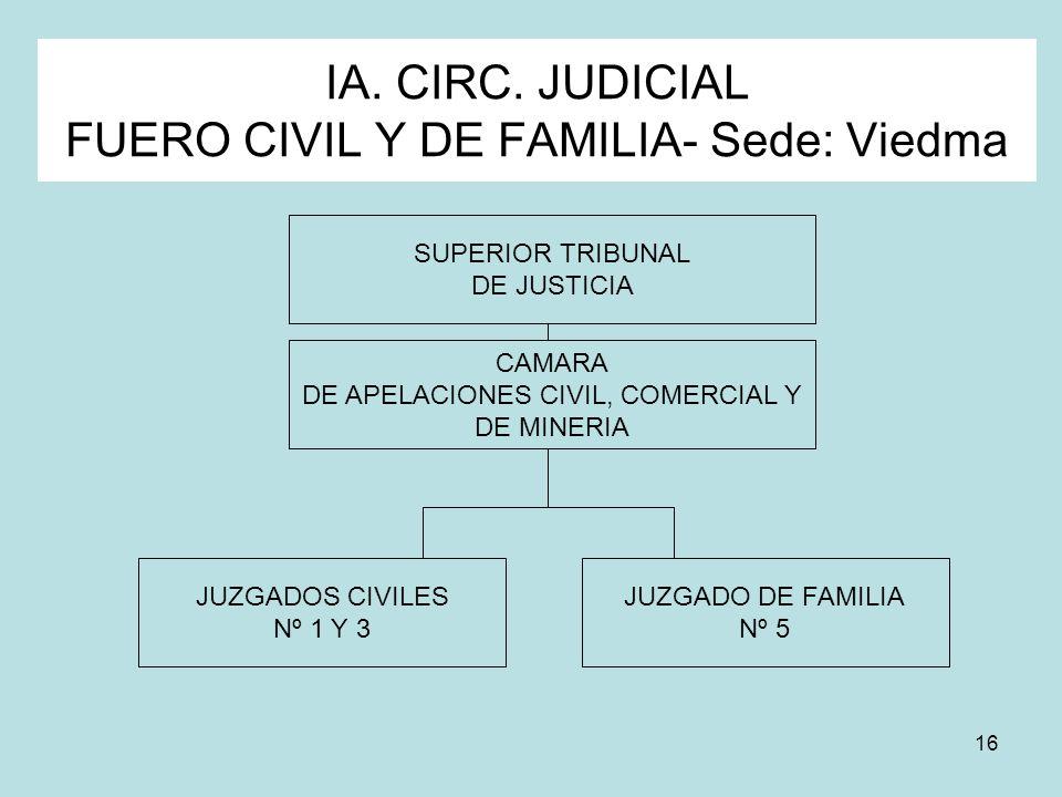 16 IA. CIRC. JUDICIAL FUERO CIVIL Y DE FAMILIA- Sede: Viedma SUPERIOR TRIBUNAL DE JUSTICIA JUZGADOS CIVILES Nº 1 Y 3 JUZGADO DE FAMILIA Nº 5 CAMARA DE