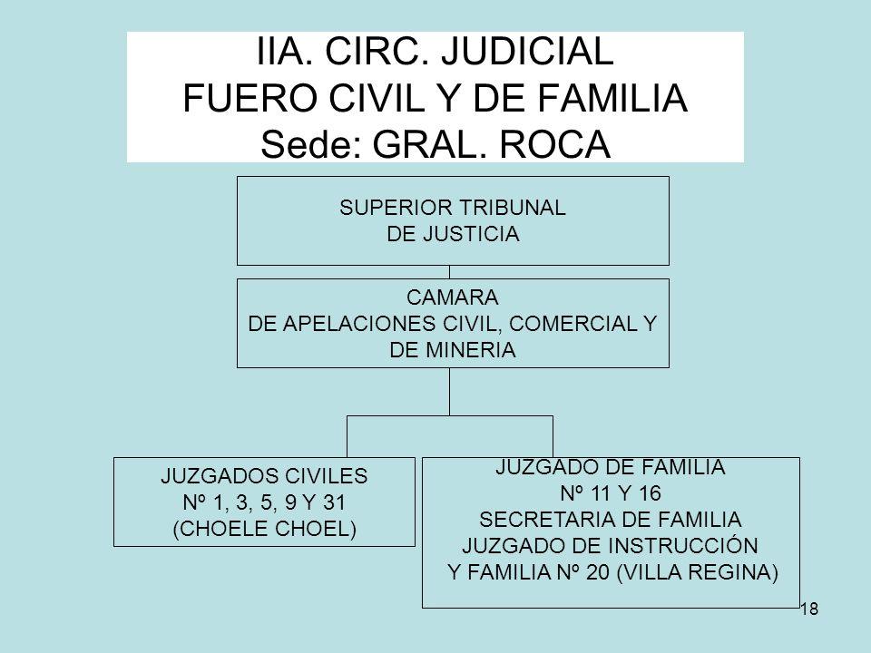 18 IIA. CIRC. JUDICIAL FUERO CIVIL Y DE FAMILIA Sede: GRAL. ROCA SUPERIOR TRIBUNAL DE JUSTICIA JUZGADOS CIVILES Nº 1, 3, 5, 9 Y 31 (CHOELE CHOEL) JUZG