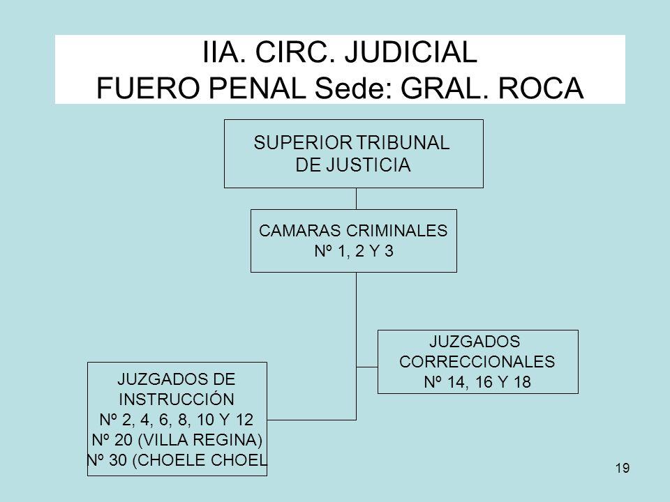 19 IIA. CIRC. JUDICIAL FUERO PENAL Sede: GRAL. ROCA SUPERIOR TRIBUNAL DE JUSTICIA JUZGADOS CORRECCIONALES Nº 14, 16 Y 18 JUZGADOS DE INSTRUCCIÓN Nº 2,