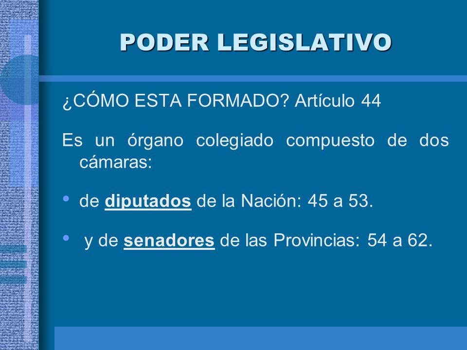 PODER LEGISLATIVO ¿CÓMO ESTA FORMADO? Artículo 44 Es un órgano colegiado compuesto de dos cámaras: de diputados de la Nación: 45 a 53. y de senadores