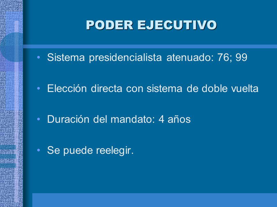 PODER EJECUTIVO Sistema presidencialista atenuado: 76; 99 Elección directa con sistema de doble vuelta Duración del mandato: 4 años Se puede reelegir.