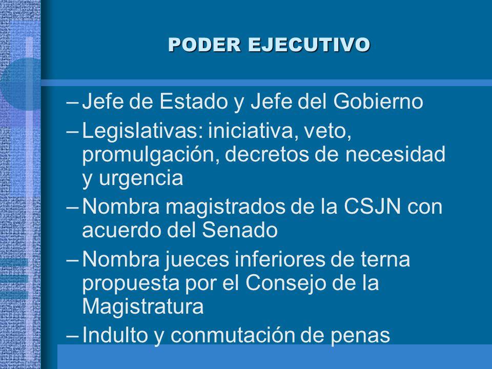 PODER EJECUTIVO –Jefe de Estado y Jefe del Gobierno –Legislativas: iniciativa, veto, promulgación, decretos de necesidad y urgencia –Nombra magistrado