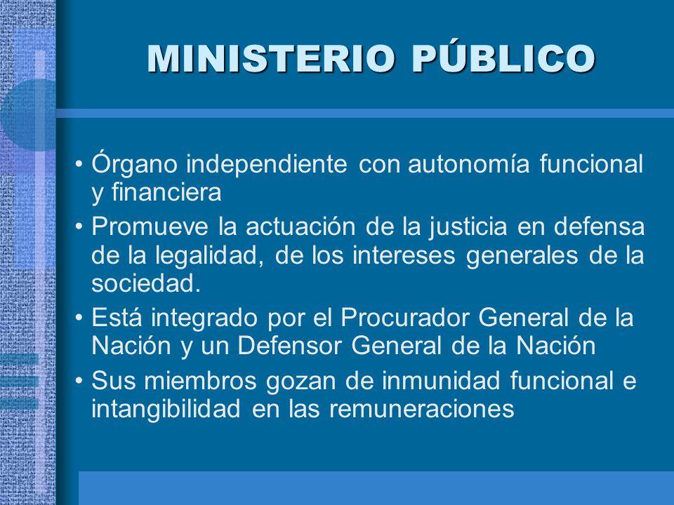 MINISTERIO PÚBLICO Órgano independiente con autonomía funcional y financiera Promueve la actuación de la justicia en defensa de la legalidad, de los i