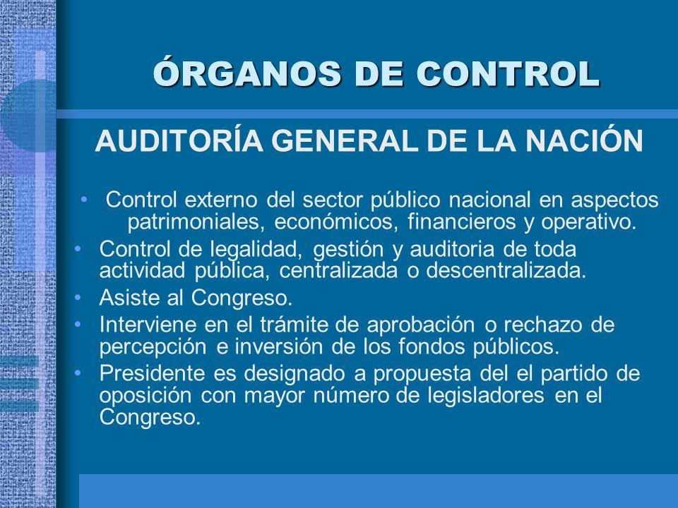 ÓRGANOS DE CONTROL AUDITORÍA GENERAL DE LA NACIÓN Control externo del sector público nacional en aspectos patrimoniales, económicos, financieros y ope