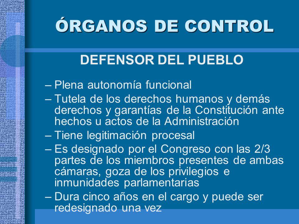 ÓRGANOS DE CONTROL DEFENSOR DEL PUEBLO –Plena autonomía funcional –Tutela de los derechos humanos y demás derechos y garantías de la Constitución ante