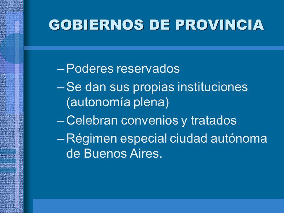 GOBIERNOS DE PROVINCIA –Poderes reservados –Se dan sus propias instituciones (autonomía plena) –Celebran convenios y tratados –Régimen especial ciudad