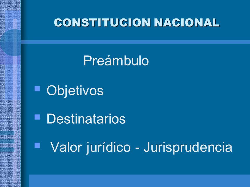 CONSTITUCION NACIONAL PRIMERA PARTE Capítulo Primero: Declaraciones, Derechos y Garantías (arts.