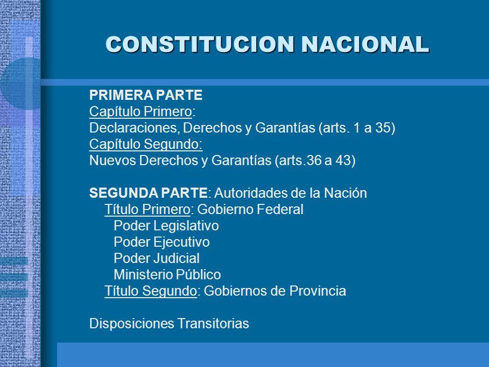 CONSTITUCION NACIONAL PRIMERA PARTE Capítulo Primero: Declaraciones, Derechos y Garantías (arts. 1 a 35) Capítulo Segundo: Nuevos Derechos y Garantías