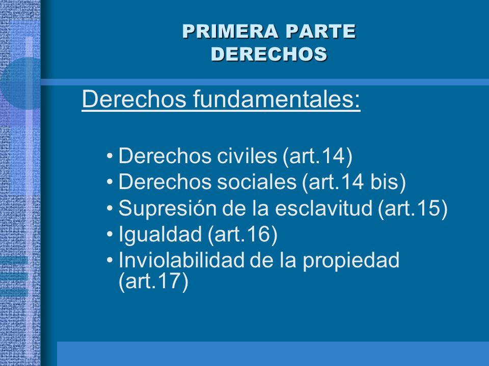 PRIMERA PARTE DERECHOS Derechos fundamentales: Derechos civiles (art.14) Derechos sociales (art.14 bis) Supresión de la esclavitud (art.15) Igualdad (