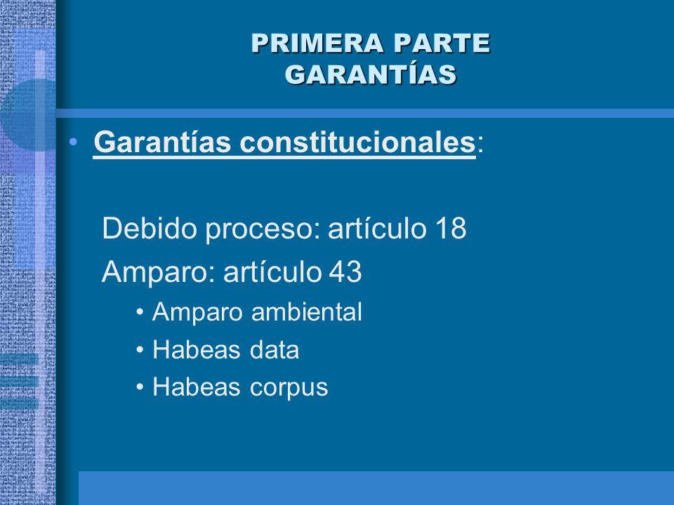 PRIMERA PARTE GARANTÍAS Garantías constitucionales: Debido proceso: artículo 18 Amparo: artículo 43 Amparo ambiental Habeas data Habeas corpus