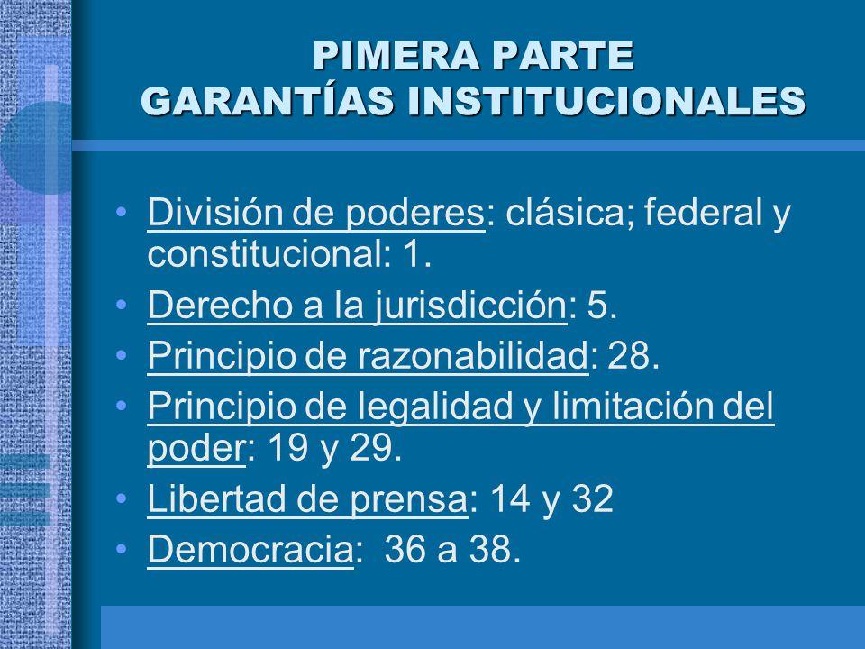 PIMERA PARTE GARANTÍAS INSTITUCIONALES División de poderes: clásica; federal y constitucional: 1. Derecho a la jurisdicción: 5. Principio de razonabil