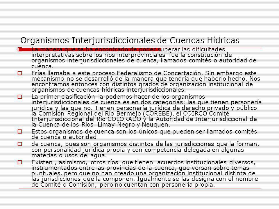 Organismos Interjurisdiccionales de Cuencas Hídricas La manera que se ha encontrado de poder superar las dificultades interpretativas sobre los ríos interprovinciales fue la constitución de organismos interjurisdiccionales de cuenca, llamados comités o autoridad de cuenca.