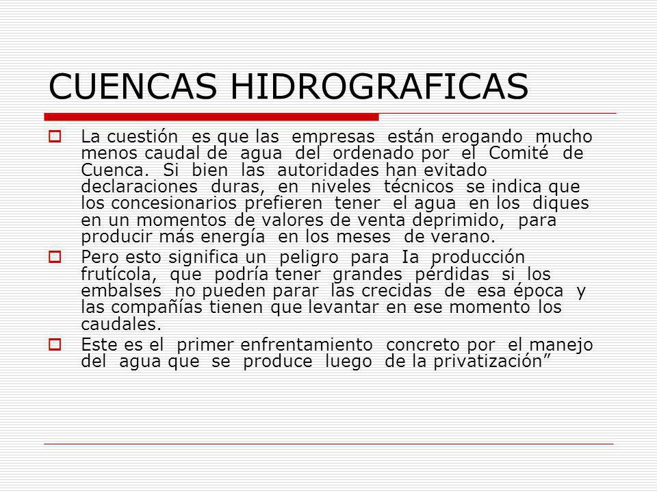 CUENCAS HIDROGRAFICAS La cuestión es que las empresas están erogando mucho menos caudal de agua del ordenado por el Comité de Cuenca.