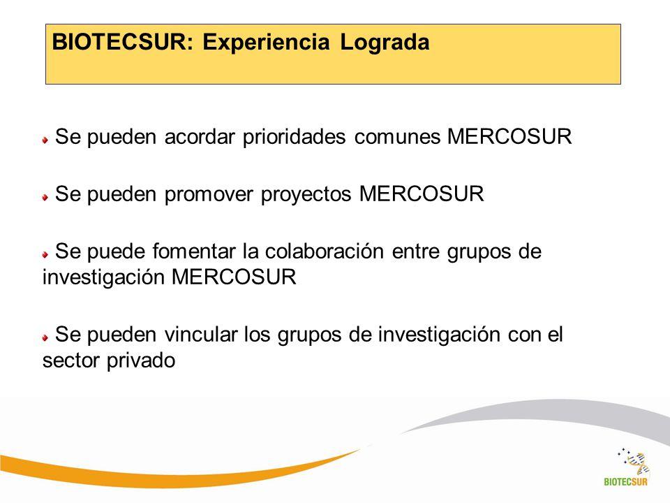 BIOTECSUR: Experiencia Lograda Se pueden acordar prioridades comunes MERCOSUR Se pueden promover proyectos MERCOSUR Se puede fomentar la colaboración