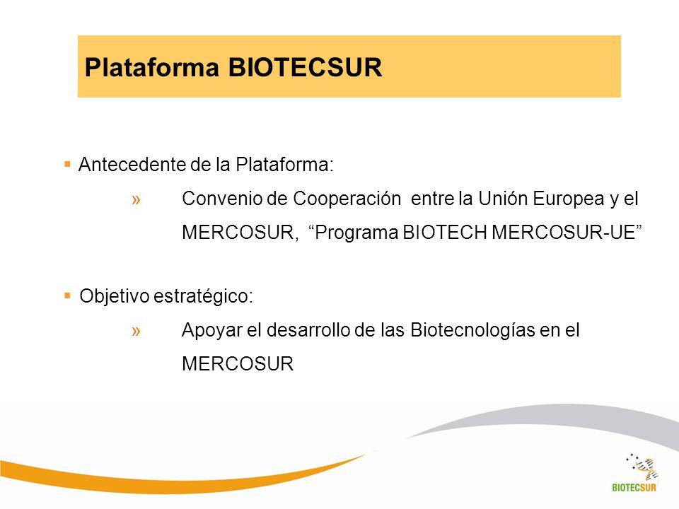 Plataforma BIOTECSUR Antecedente de la Plataforma: »Convenio de Cooperación entre la Unión Europea y el MERCOSUR, Programa BIOTECH MERCOSUR-UE Objetiv