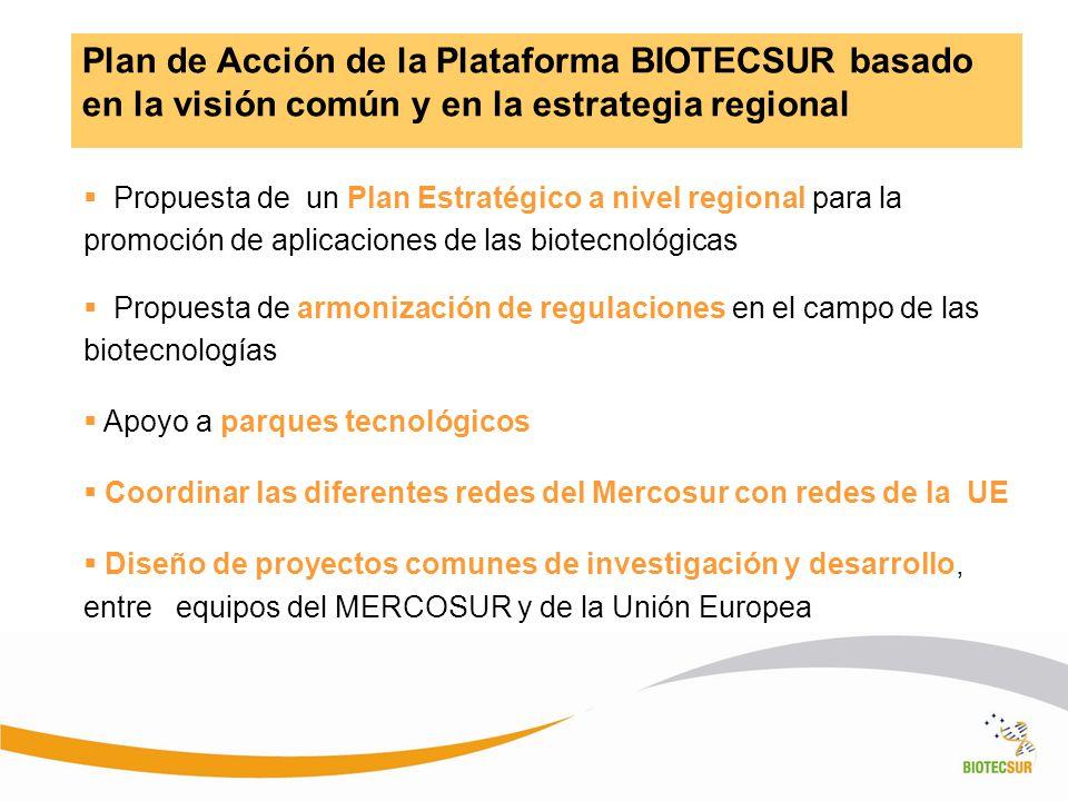 Plan de Acción de la Plataforma BIOTECSUR basado en la visión común y en la estrategia regional Propuesta de un Plan Estratégico a nivel regional para