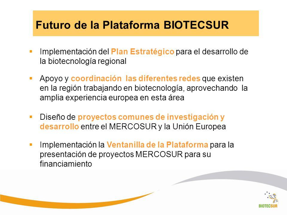 Futuro de la Plataforma BIOTECSUR Implementación del Plan Estratégico para el desarrollo de la biotecnología regional Apoyo y coordinación las diferen