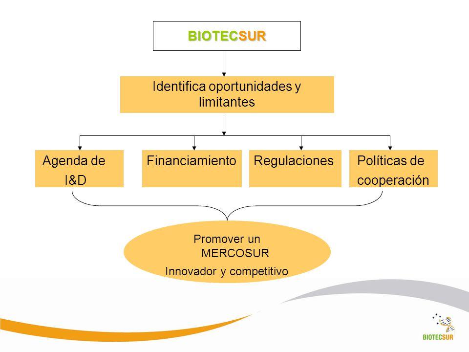 BIOTECSUR Identifica oportunidades y limitantes Agenda de I&D FinanciamientoRegulaciones Políticas de cooperación Promover un MERCOSUR Innovador y com
