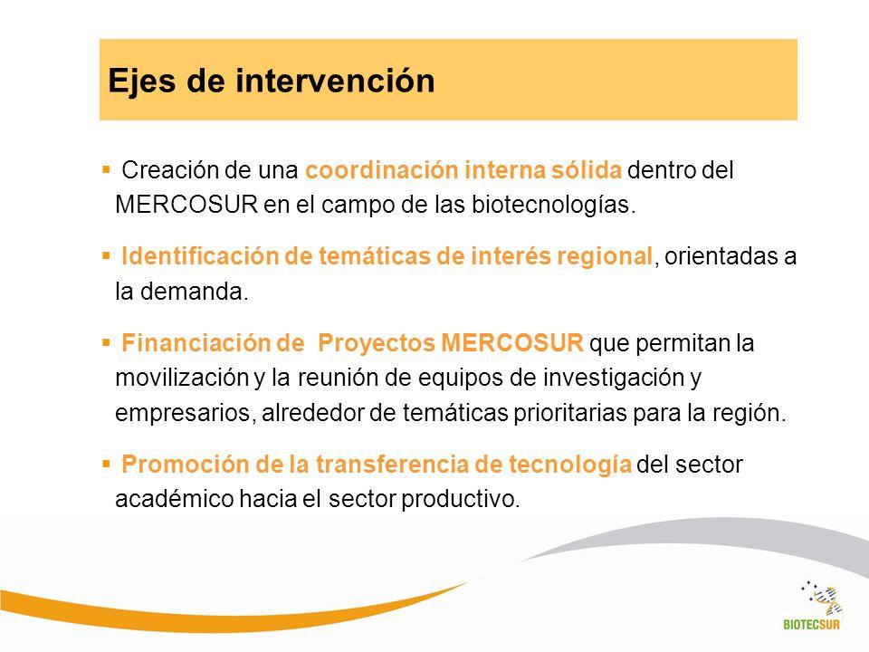 Creación de una coordinación interna sólida dentro del MERCOSUR en el campo de las biotecnologías. Identificación de temáticas de interés regional, or