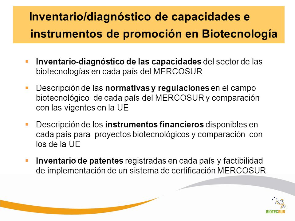 Inventario/diagnóstico de capacidades e instrumentos de promoción en Biotecnología Inventario-diagnóstico de las capacidades del sector de las biotecn