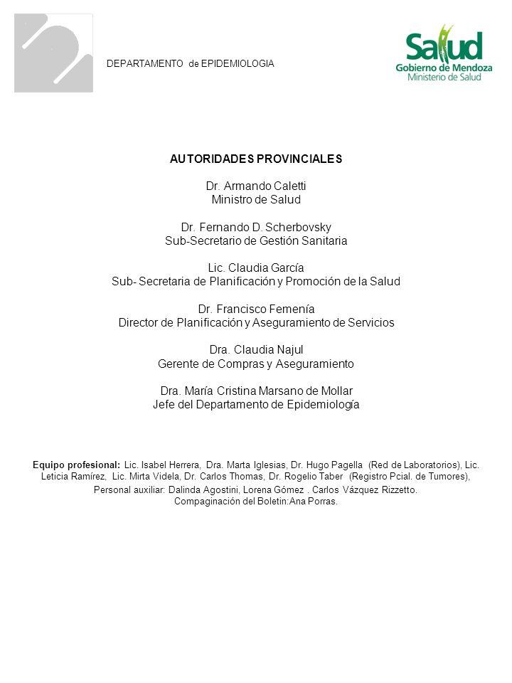 AUTORIDADES PROVINCIALES Dr. Armando Caletti Ministro de Salud Dr. Fernando D. Scherbovsky Sub-Secretario de Gestión Sanitaria Lic. Claudia García Sub
