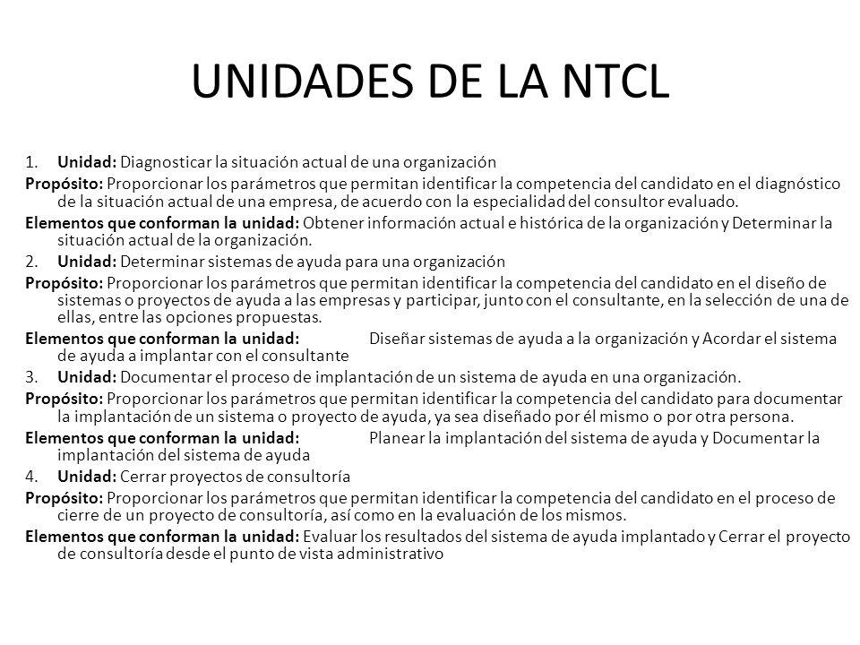UNIDADES DE LA NTCL 1.Unidad: Diagnosticar la situación actual de una organización Propósito: Proporcionar los parámetros que permitan identificar la