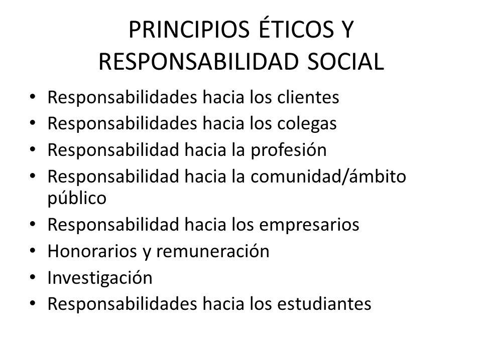 PRINCIPIOS ÉTICOS Y RESPONSABILIDAD SOCIAL Responsabilidades hacia los clientes Responsabilidades hacia los colegas Responsabilidad hacia la profesión