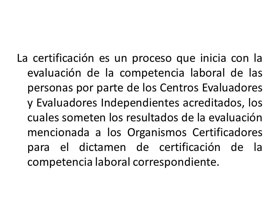 La certificación es un proceso que inicia con la evaluación de la competencia laboral de las personas por parte de los Centros Evaluadores y Evaluador