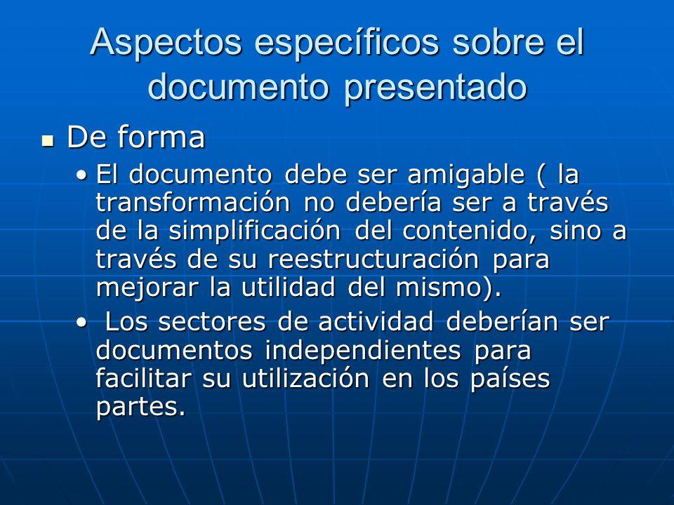 Aspectos específicos sobre el documento presentado De forma De forma El documento debe ser amigable ( la transformación no debería ser a través de la simplificación del contenido, sino a través de su reestructuración para mejorar la utilidad del mismo).El documento debe ser amigable ( la transformación no debería ser a través de la simplificación del contenido, sino a través de su reestructuración para mejorar la utilidad del mismo).