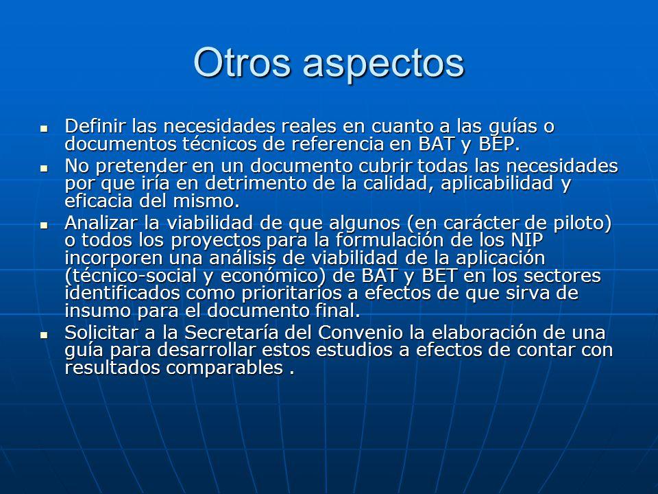 Otros aspectos Definir las necesidades reales en cuanto a las guías o documentos técnicos de referencia en BAT y BEP.