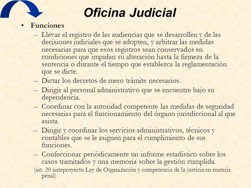 Oficina Judicial Funciones –Llevar el registro de las audiencias que se desarrollen y de las decisiones judiciales que se adopten, y arbitrar las medi