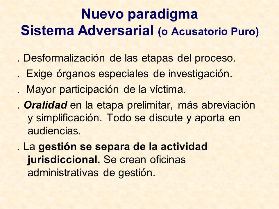 Nuevo paradigma Sistema Adversarial (o Acusatorio Puro). Desformalización de las etapas del proceso.. Exige órganos especiales de investigación.. Mayo