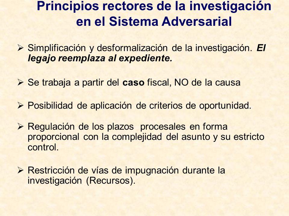 Principios rectores de la investigación en el Sistema Adversarial Simplificación y desformalización de la investigación. El legajo reemplaza al expedi