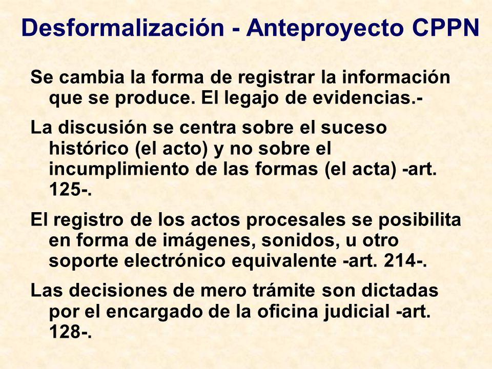 Desformalización - Anteproyecto CPPN Se cambia la forma de registrar la información que se produce. El legajo de evidencias.- La discusión se centra s