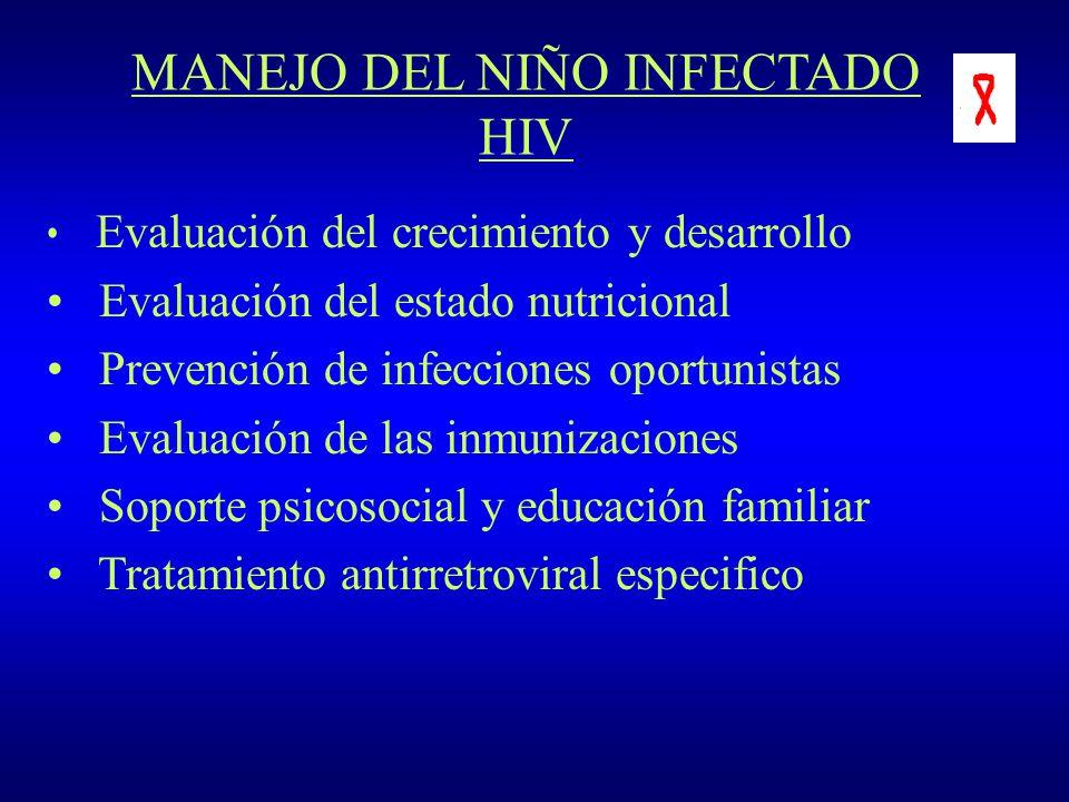 MANEJO DEL NIÑO INFECTADO HIV Evaluación del crecimiento y desarrollo Evaluación del estado nutricional Prevención de infecciones oportunistas Evaluac