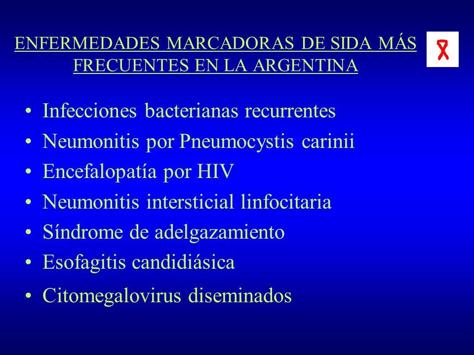 ENFERMEDADES MARCADORAS DE SIDA MÁS FRECUENTES EN LA ARGENTINA Infecciones bacterianas recurrentes Neumonitis por Pneumocystis carinii Encefalopatía p